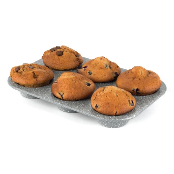 Salter BW02778G Marble Collection Non Stick 6 Cup Muffin Tray, Grey No Colour