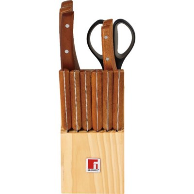 BG-8911-MM 13Pc Natural Knife Set Block