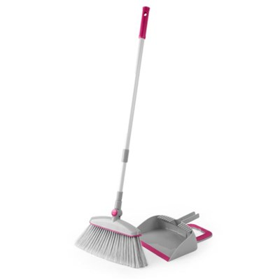 Kleeneze KL068392EU7 Swivel Head Dustpan with Broom with Swivel Head, Grey and Pink