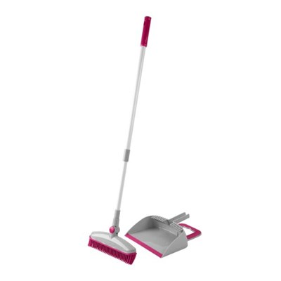 Kleeneze KL068354EU7 Rubber Head Dustpan and Brush Set with Swivel Head