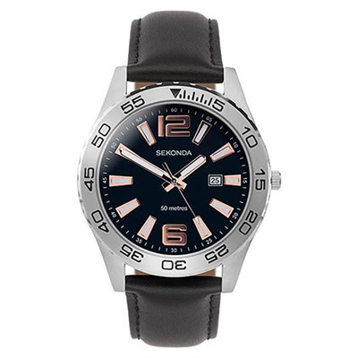 Sekonda Gents Sports Watch with Genuine Leather Strap
