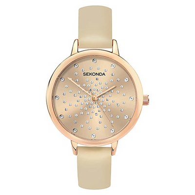 Sekonda Ladies Rose Stone Set Sunray Dial Fashion Watch with Pu Strap