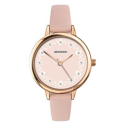 Sekonda Ladies Stone Set Flower Dial Fashion Watch with Pu Strap