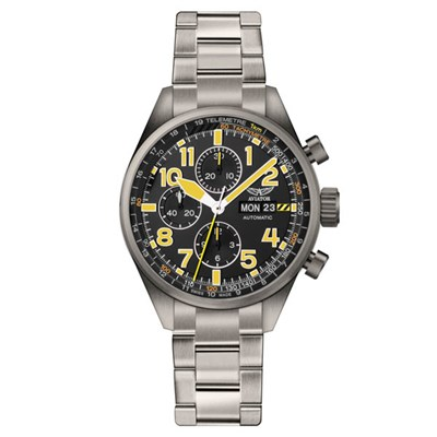 Aviator Ltd Ed Swiss Automatic 7750 Airacobra P45 Watch with Stainless Steel Bracelet & Extra Strap