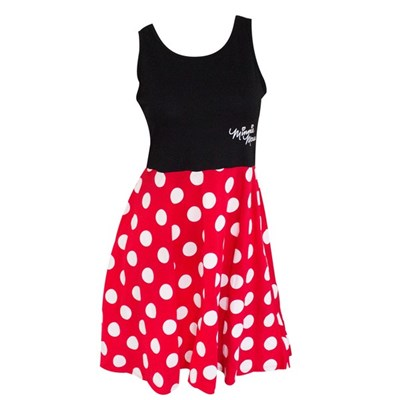 Minnie Mouse Womens Black And Red Polka Dot Dress
