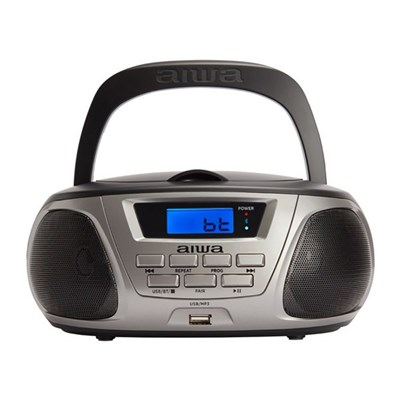 Aiwa BBTU-300 AM/FM MP3/USB Portable CD Radio with Bluetooth, Ergonomic and easy to carry, CD player with Japanese optics - Black/White