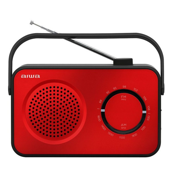 Aiwa R-190 Portable Radio, AM/FM, Mains & Battery, With Headphone Socket - Red No Size Red