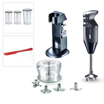 Bamix Deluxe 180W with Stand, 4 Blades inc. Multipurpose, Whisk, Beater & Meat, Dry Grinder, 2 x 400ml & 600ml Beakers with Lids + Spatula