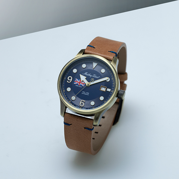 Image of Mathey Tissot Gents Special Edition Bronze PVD SW200 Watch with Genuine Leather Strap