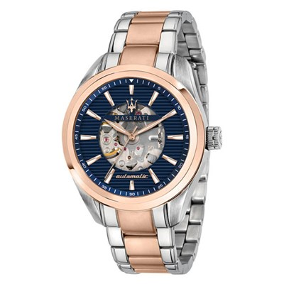 Maserati Gents Traguardo Automatic Watch with Two Tone Stainless Steel Bracelet
