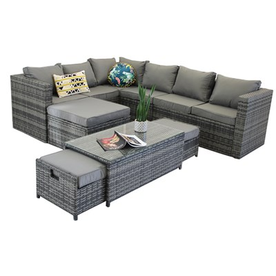 Vancouver 9-seater Corner Rattan Garden Set in Grey