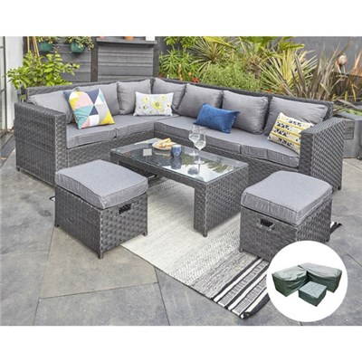 Barcelona Black Modular 8-seater Rattan Corner Set with Rain Cover