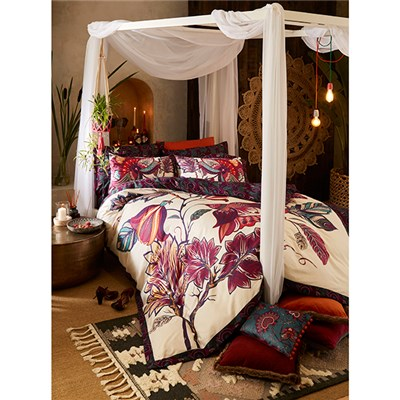 Joe Browns Floral Elephant Reverse Duvet Cover Set - Double - Plum Multi
