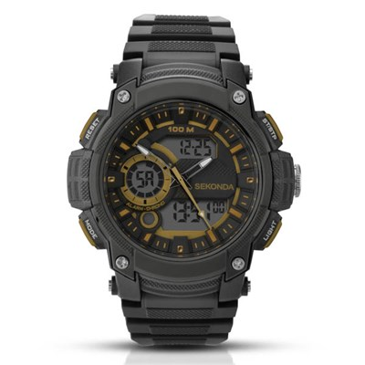 Sekonda Gents Digitial Watch with Black Plastic Strap