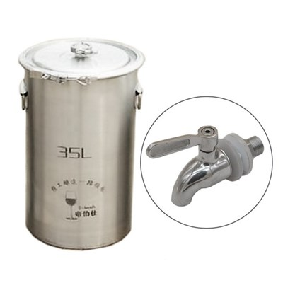 304 Stainless Steel Fermenter Fermentation Barrel Home Brew Wine Beer Fermenters 35L With Faucet