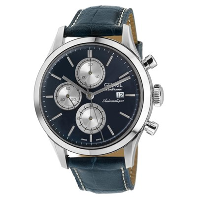 Gevril Gents Ltd Ed West 30th St Swiss Automatic Sellita SW500 Watch with Genuine Leather Strap & Complimentary Gift