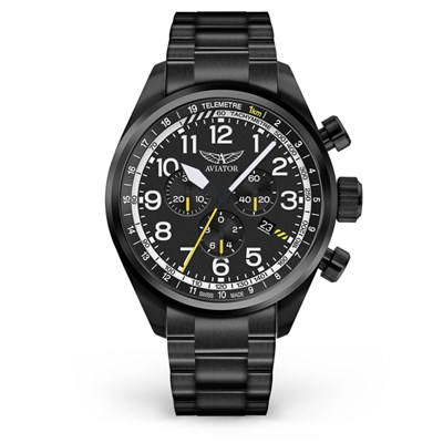 Aviator Gents Swiss Ronda Chronograph Airacobra P45 Watch with Stainless Steel Bracelet & Extra Strap