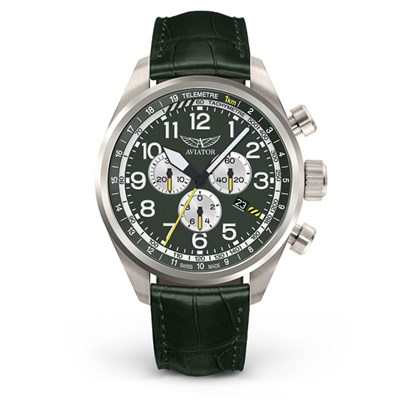 Aviator Gents Swiss Ronda Chronograph Airacobra P45 Watch with Genuine Leather Strap
