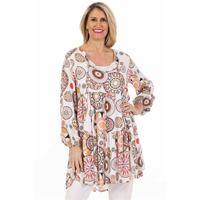 Fizz White Circles Tunic