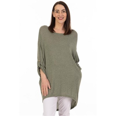 Fizz Khaki Twist Back Marl 2 Pocket Tunic