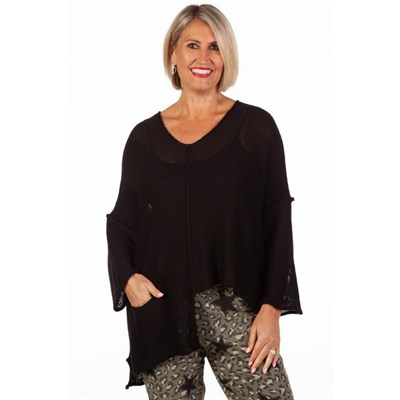 Fizz Black Asymmetric Single Pocket Fine Knit Top