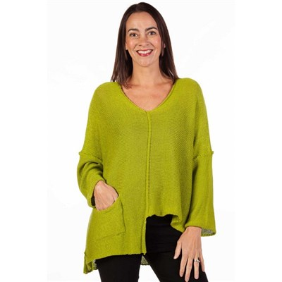 Fizz Lime Asymmetric Single Pocket Fine Knit Top