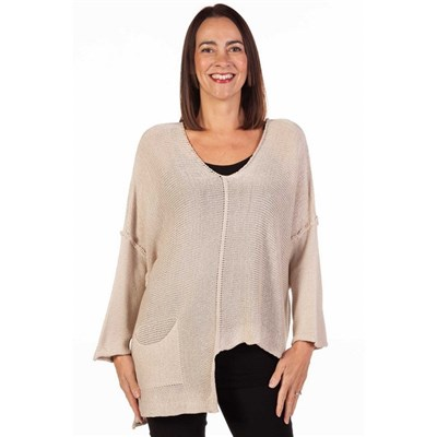 Fizz Stone Asymmetric Single Pocket Fine Knit Top