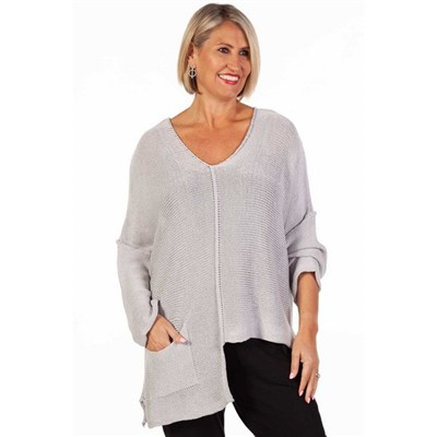 Fizz Silver Grey Asymmetric Single Pocket Fine Knit Top