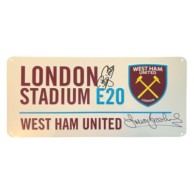 West Ham FC Official Roadsign Personally Signed by Billy Bonds and Trevor Brooking