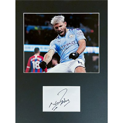 "Sergio Aguero 16"" x 12"" Mounted Photo & Signature Display Personally Signed"