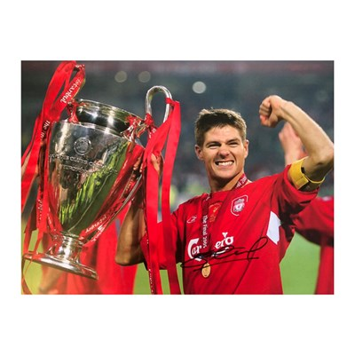 "Steven Gerrard 16"" x 12"" Mounted European 2005 Cup Final Photo Personally Signed"