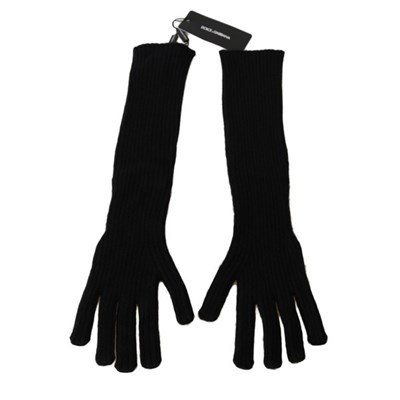 Dolce & Gabbana Womens Cashmere Knitted Elbow Length Gloves Black LB252