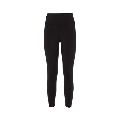 Slim High Waist Tights. Woman Running Leggins Black With White Logo. A High Tech With Great Flexibility, Soft Feel With Maximum Breathability.