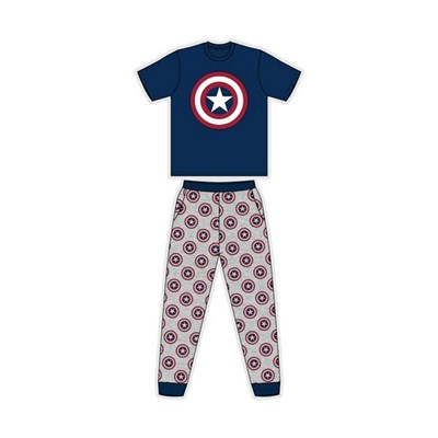 Captain America Mens Logo Short-Sleeved Pyjamas