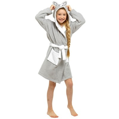 Tom Franks Childrens Girls Pure Cotton French Bulldog Bathrobe
