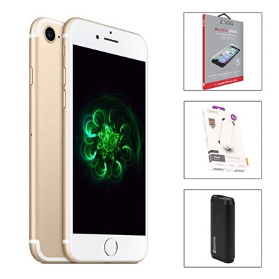 AzTech Apple iPhone 7 128GB Pristine with Griffin Powerbank, Gear4 D30 Case and Zagg Invisibleshield