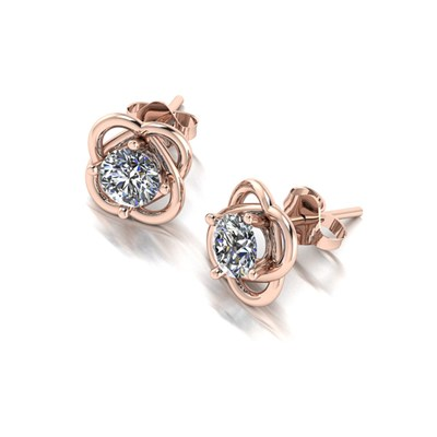 Moissanite 9ct Rose Gold 1.00ct eq Knott Earrings
