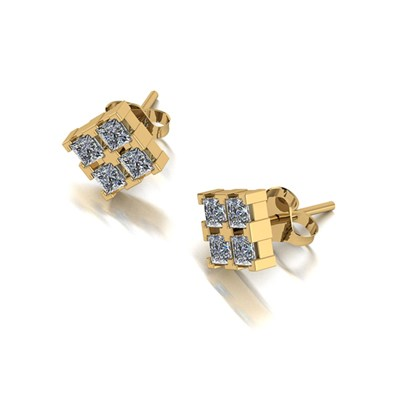 Moissanite 9ct Gold 1.00ct eq Square Stud Earrings