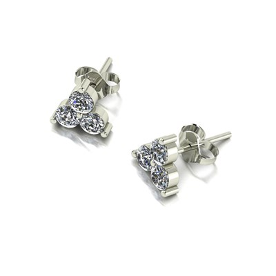 Moissanite 9ct White Gold 0.90ct eq Three Stone Earrings