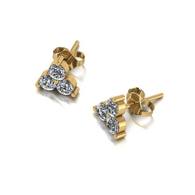 Moissanite 9ct Gold 0.90ct eq Three Stone Earrings