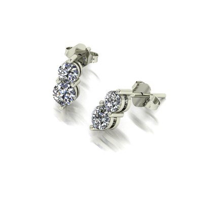 Moissanite 9ct White Gold 0.90ct eq Two Stone Earrings