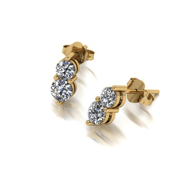 Moissanite 9ct Gold 0.90ct eq Two Stone Earrings