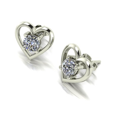 Moissanite 9ct White Gold 1.00ct Heart Set Solitaire Earrings