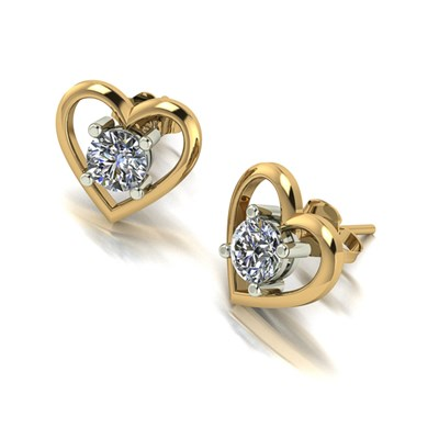 Moissanite 9ct Gold 1.00ct Heart Set Solitaire Earrings