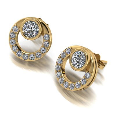 Moissanite 9ct Gold 1.25ct eq Circle Earrings