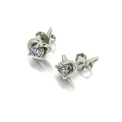 Moissanite 9ct White Gold 0.50ct eq Knot Solitaire Earrings