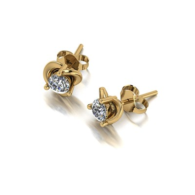 Moissanite 9ct Gold 0.50ct eq Knot Solitaire Earrings