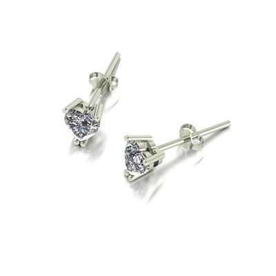 Moissanite 9ct White Gold 0.70ct eq Heart Solitaire Earrings