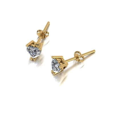 Moissanite 9ct Gold 0.70ct eq Heart Solitaire Earrings