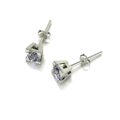 Moissanite 9ct White Gold 0.80ct eq Square Solitaire Earrings